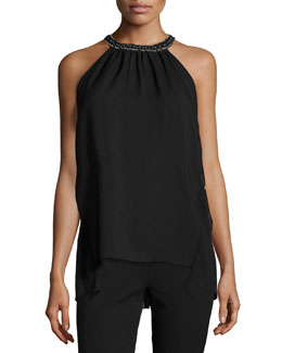 Florence Halter Top W/Beaded-Neck, Black