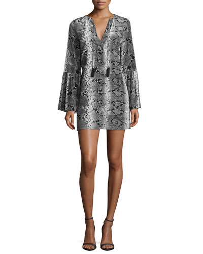 Nadelle Python-Print Mini Dress, Gray