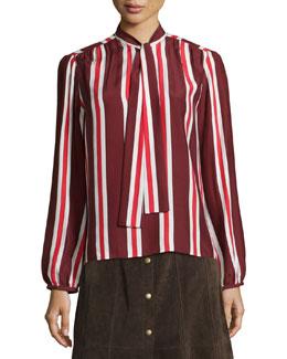 Le Wrap Neck-Tie Shirt, Burgundy