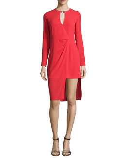 Long-Sleeve Draped-Front Dress