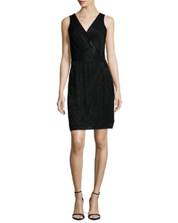 Lyndsey Embellished Faux-Wrap Dress, Black
