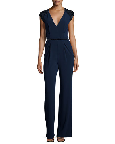 Embellished Cap-Sleeve V-Neck Jumpsuit, Navy