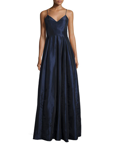 Sleeveless Taffeta Gown, Navy