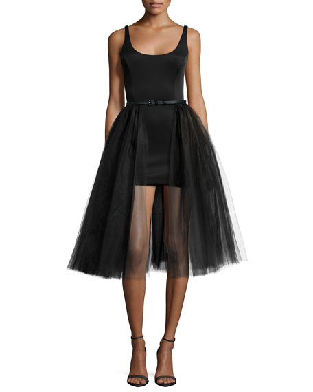 Sleeveless Belted Cocktail Dress w/ Tulle Overlay, Black