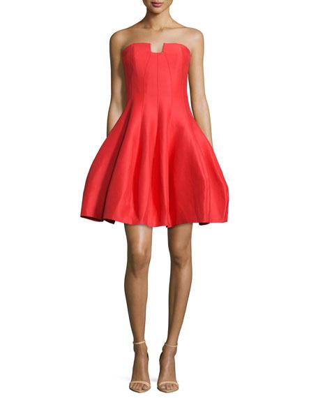 Strapless A-Line Cocktail Dress, Lipstick