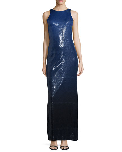Sleeveless Sequined Ombre Column Gown