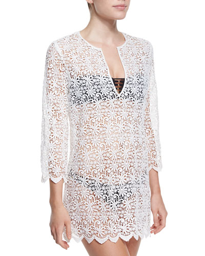 Darcie Floral-Crochet Tunic Coverup