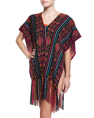Livia Embroidered Poncho Coverup W/Fringe Hem, Multi Colors