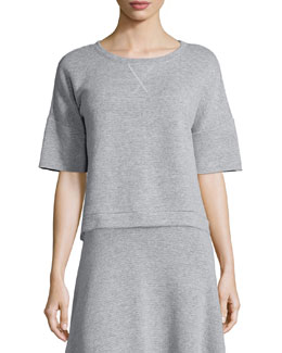 Le Cropped Elbow-Sleeve Sweatshirt, Gray