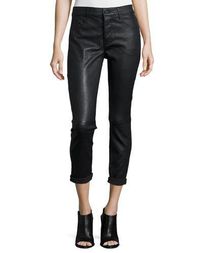 Ryder Cropped Leather Pants, Black