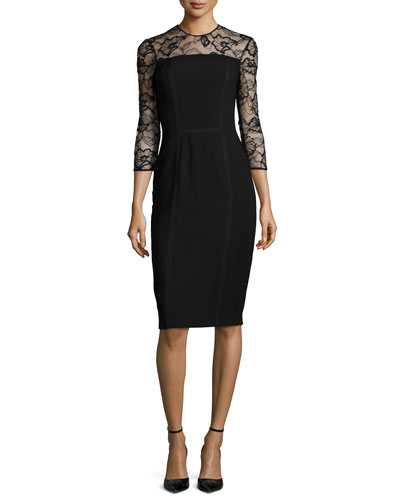3/4-Sleeve Lace-Trim Cocktail Dress, Black