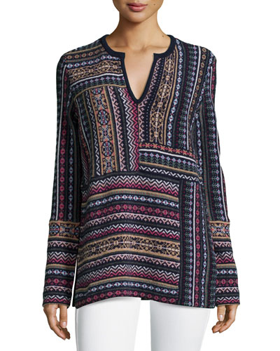 Long-Sleeve Patchwork Jacquard Sweater
