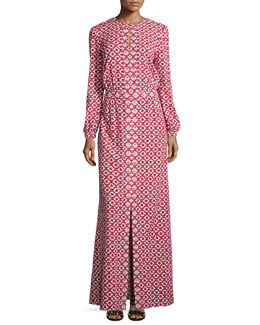 Long-Sleeve Textured Maxi Caftan, Red/White