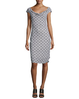 Cowl-Neck Cap-Sleeve Printed Dress, White Pattern