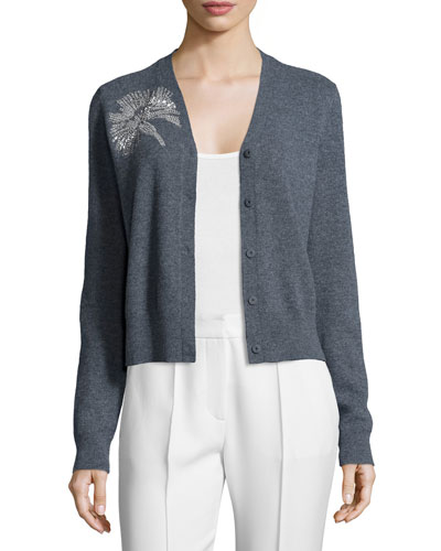 Embellished Long-Sleeve V-Neck Cardigan, Gray