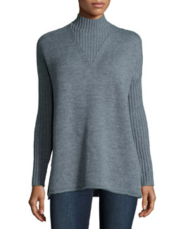 Mock-Neck Long-Sleeve Oversize Sweater