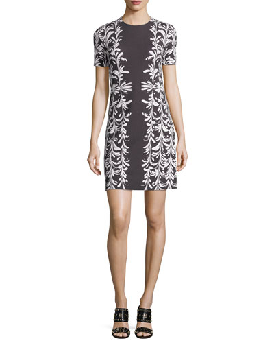 Short-Sleeve Jewel-Neck Ponte Dress, Gray/White