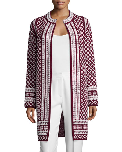 Long Jacquard Sweater Coat