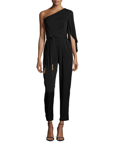 One-Shoulder Tassel-Tie Silk Jumpsuit