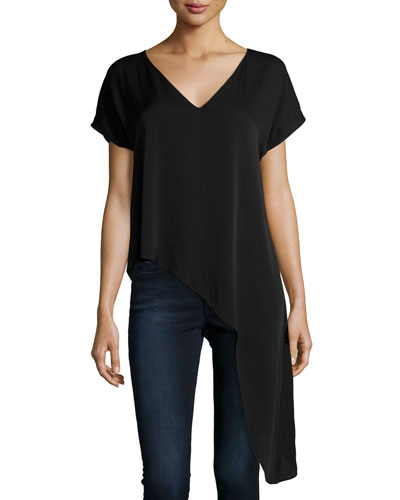 Stretch-Silk Cascade-Hem Blouse