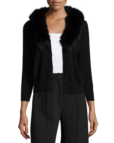 Fur-Collar Wool Cardigan