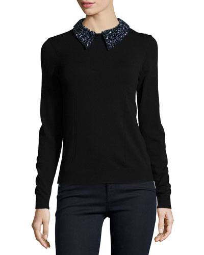 Beaded Tuxedo Collar Sweater
