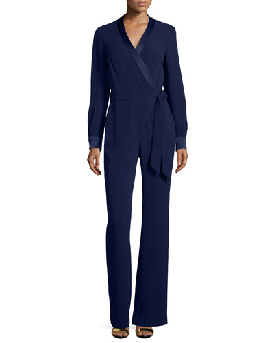 Long-Sleeve Margot Wrap-Style Jumpsuit, Midnight
