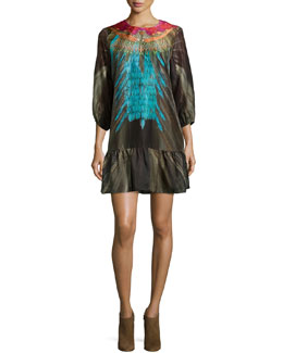 Edie Embellished Flounce Dress, Multi Colors