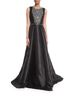 Sleeveless Beaded Combo Gown, Black