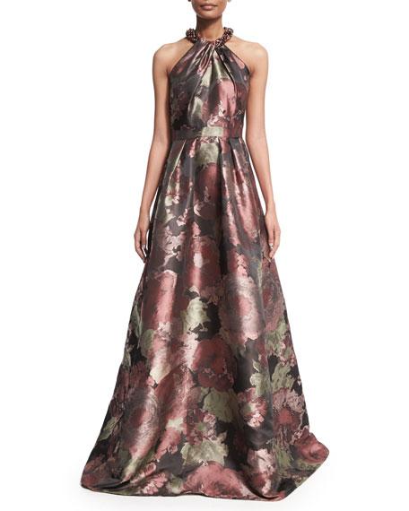 6aeabcbae9d2 Carmen Marc Valvo Sleeveless Crisscross Beaded-Neck Floral Ball Gown