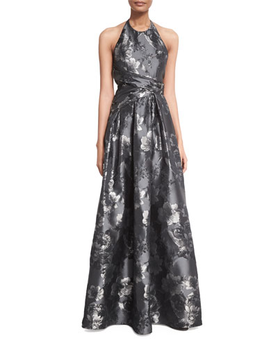 Sleeveless Pleated Metallic Gown, Pewter