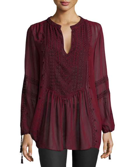 Calypso St Barth Zandy Long-Sleeve Tunic, Dark Garnet
