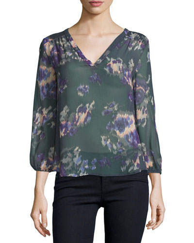 3/4-Sleeve Floral-Print Georgette Top