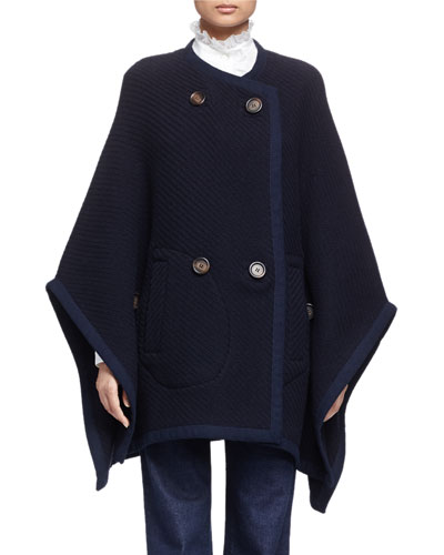Textured Double-Breasted Cape, Navy
