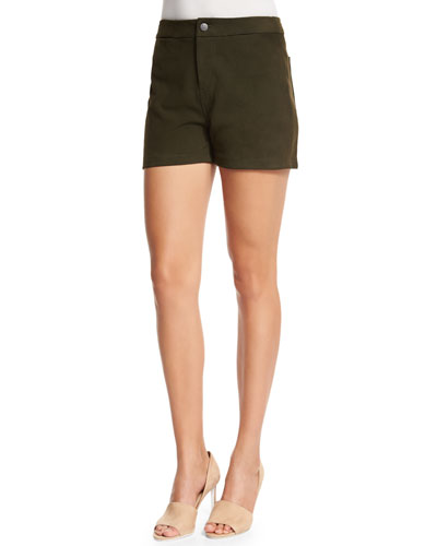 Mila Mid-Rise Leather Shorts, Camo