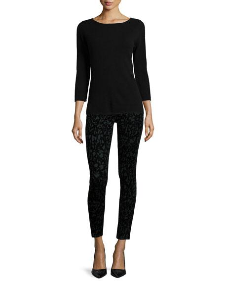 Mid-Rise Super Skinny Jeans, Olive Brocade