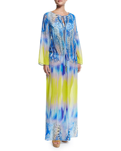 Dip-Dye Paisley-Print Maxi Dress Coverup
