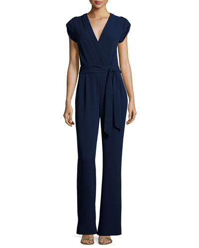 Purdy Cap-Sleeve Crepe Jumpsuit, Navy