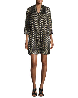 Layla Polka-Dot Shift Dress, Black/Gold