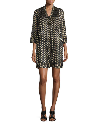 Layla Polka-Dot Shift Dress, Black/Gold