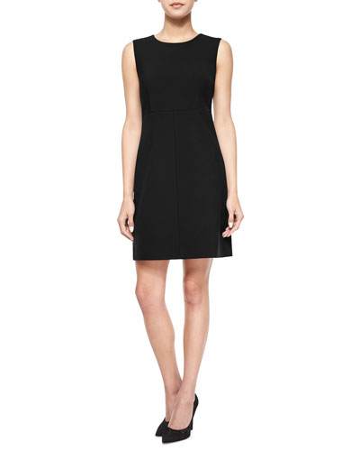 Carrie Sleeveless Ponte A-line Dress, Black