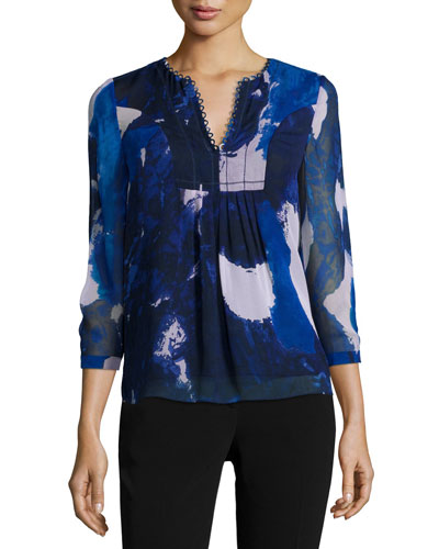 3/4-Sleeve Dancing Explosion Pleated Silk Blouse