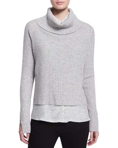 Turtleneck Ribbed Cashmere Sweater, Gray