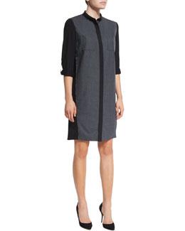 Valerie Tabbed-Sleeve Shirtdress
