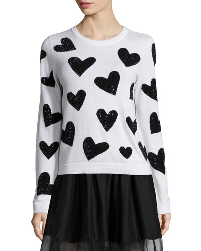 Carey Sequin-Heart Wool Pullover Sweater, White/Black