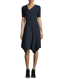 Racinda Short-Sleeve Handkerchief Dress