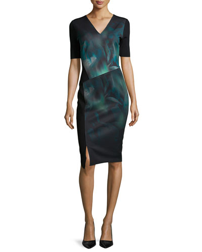 Betsy Short-Sleeve Misty Bloom Printed Dress