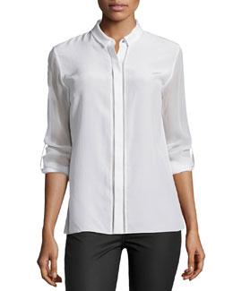 Ava Silk Long-Sleeve Blouse