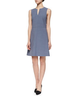 Miyani Split-Neck Suit Dress, Denim