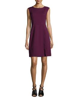 Sleeveless Mesh-Trim Ponte Sheath Dress, Oxblood